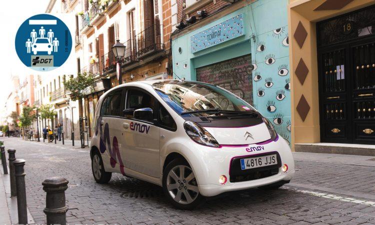Etiqueta DGT de carsharing EMOV coches compartidos